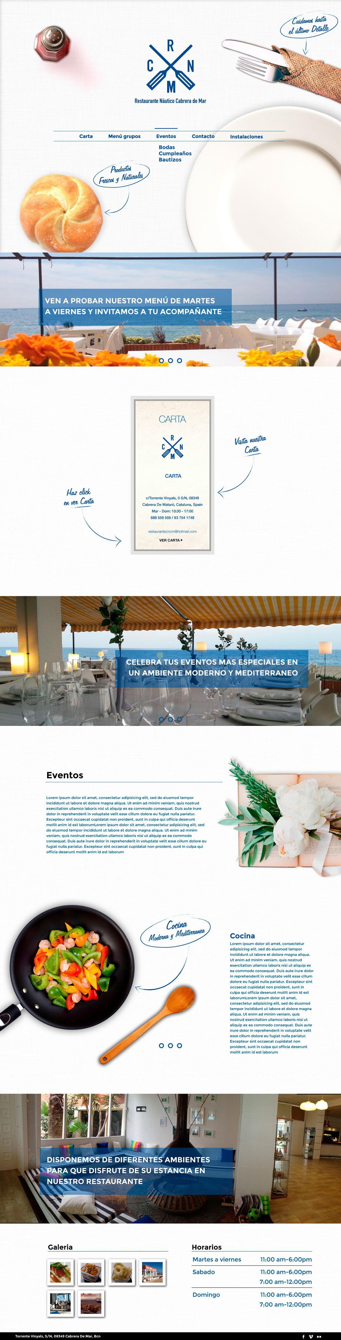 one page design web restaurant náutic cabrera de mar